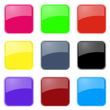 Set of nine color glass apps icons in pastel tones. EPS10 vector. Stock Vector - 23606766