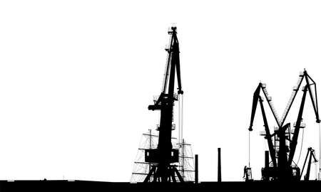 Seaport silhouette of port cranes. Illustration