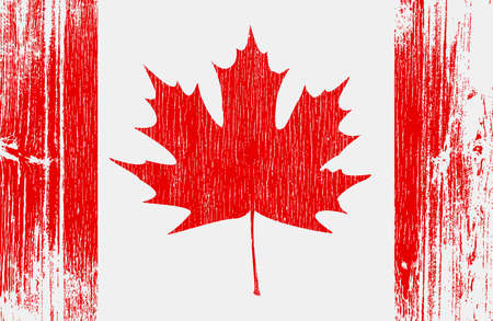 Stylized Canadian flag on wood. illustration. Vector