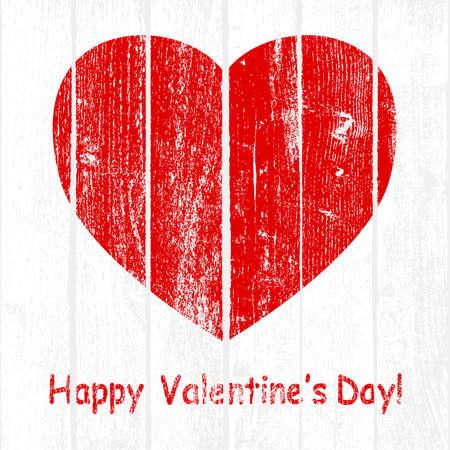 Grunge Wooden Valentine. illustration. Illustration