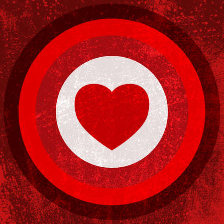 Valentine Target - red heart in the center of target.  Vector