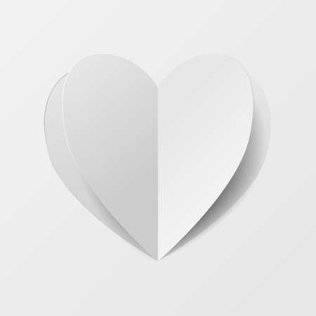 Paper cut heart valentine.  Vector