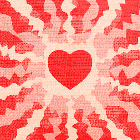 Fire heart valentine. Grunge effect can be cleaned easily. Vector
