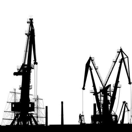 Seaport silhouette of port cranes.