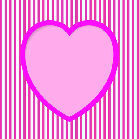 crimson: Striped Valentine Card in pink and crimson colors, with heart shape hole.  Illustration