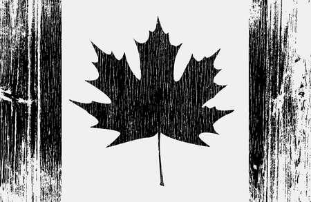 Stylized Canadian flag on wood. EPS10 vector illustration. Vector