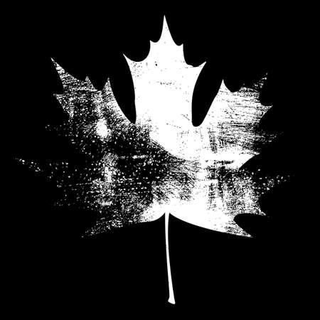 canada day: Grunge Maple Leaf - Black. EPS10 vector illustration.