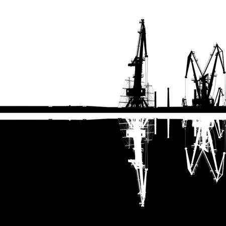 Seaport silhouette of port cranes with reflection. EPS10 vector.