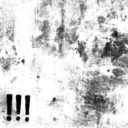 Distress overlay texture with three exclamation marks Vector