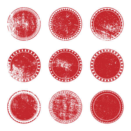Grunge Stamp Set of red color for your design.