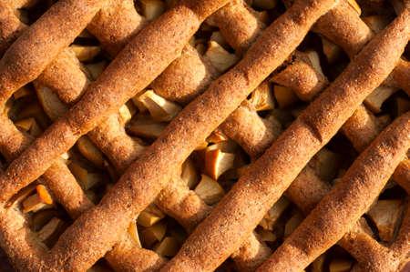Apple Pie Background - fresh apple pie from wholegrain flour. Closeup. photo