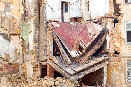 devastation: Damaged building.