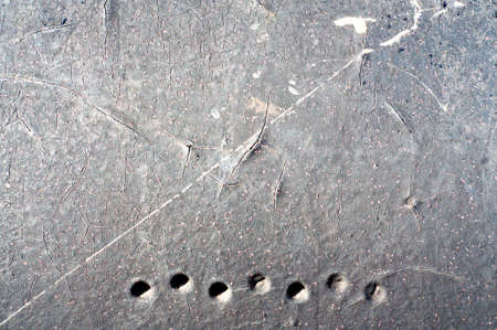 crackles: Grey Distressed Paint background with many crackles and drips.