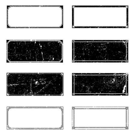 Rectangle Grunge Frames Set for your design. EPS10 vector. Illustration