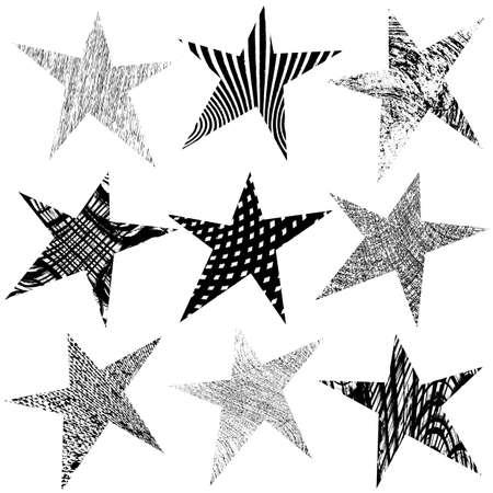 Grunge Star Original Set for your design. EPS10 vector. Vector