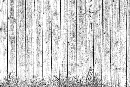 Overlay texture Wooden planks and grass - background for your design.
