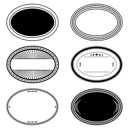 Oval Stamp Set For Your Design. EPS10 vector.