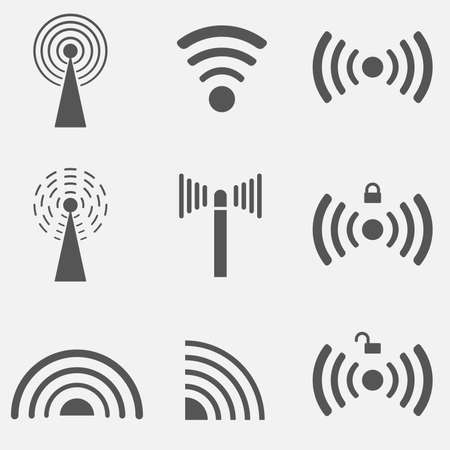 Set of different black vector wireless and wifi icons.