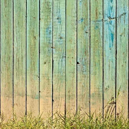 Wooden Planks And Grass Background. EPS10 vector.