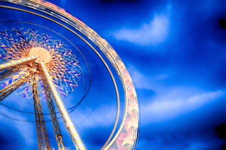 Ferris Wheel motion at nigh. HDR image.