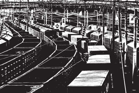 wagons: Vector Overlay Texture - Trains of freight wagons in marshalling yard.  vector.