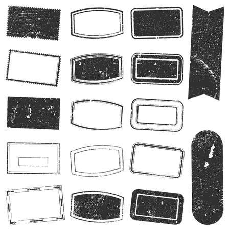 グランジ スタンプ モックアップは、グランジ オーバーレイ四角形スタンプ テクスチャあなたの設計のためのセットします。ベクトル。