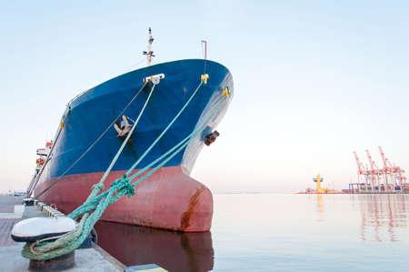 Moored Vessel in the seaport. Closeup 版權商用圖片