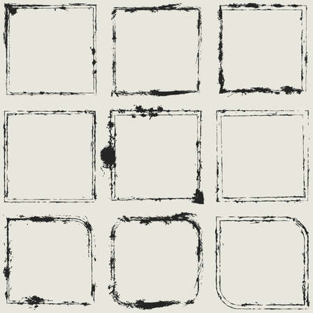 Distressed Scratched Grune  Frame Background Texture Set For Your Design. EPS10 vector.
