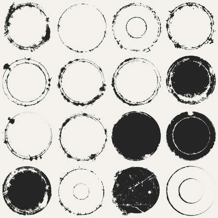 retro grunge: Distressed Circle Stamp Vector Black Color Overlay Textures Set. Thin And Bold Grunge distress Template background For your design.  vector.