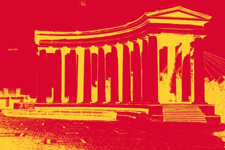 doric: Distress overlay vector texture Colonnade at Vorontsov Palace in Odessa. Ukraine
