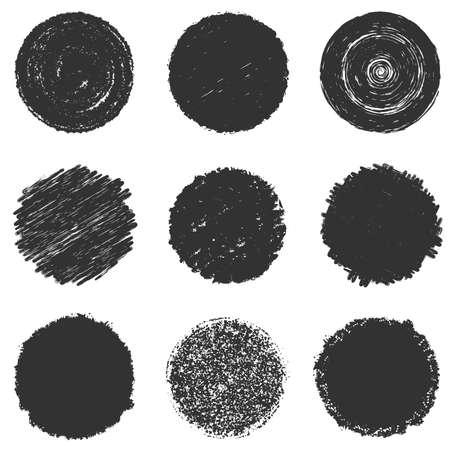 Verontruste gedurfde stempel textuur set. Circular crayon charcoal background. Lege hi-kwaliteit Grunge cirkel overlay mockup. Origineel logo blanco detail. Hoog gedetailleerde kwaliteit. Icon basis. EPS10 vector.