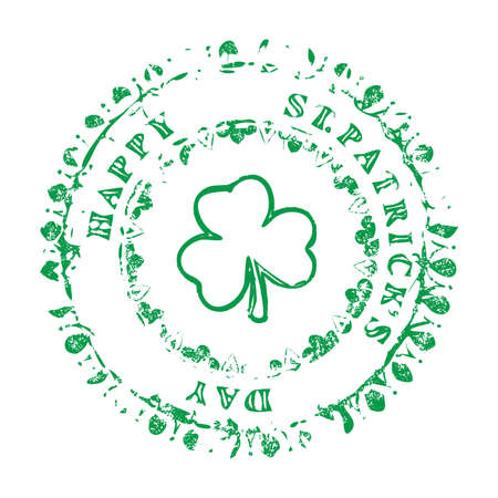 Saint Patrick's Day Congratulation on circle grunge decorative stamp with clover shamrock symbol placed in center.