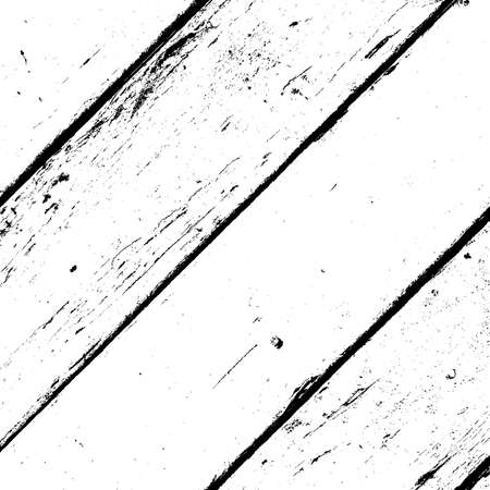 Aged dried board creative element. Grunge old wood black cover template. Wooden dry planks diagonal distressed overlay texture with knot. Weathered rural grainy timber backdrop. EPS10 vector.