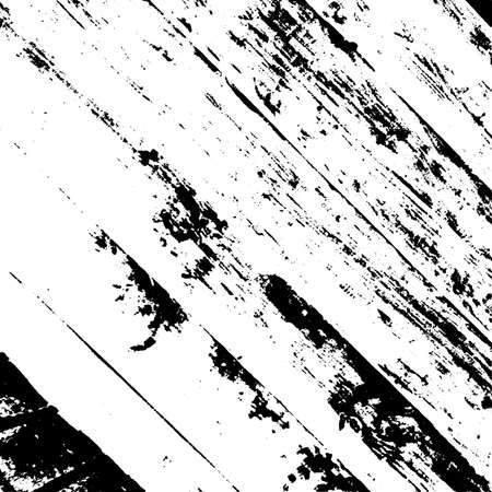 Wooden dry planks diagonal distressed overlay texture with knot. Aged dried board creative element. Grunge old wood black cover template. Weathered rural grainy timber backdrop. EPS10 vector. Vector Illustration