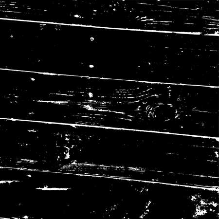Weathered rural grainy timber backdrop. Aged dried board creative element. Grunge old wood black cover template. Wooden dry planks diagonal distressed overlay texture with knot. EPS10 vector.