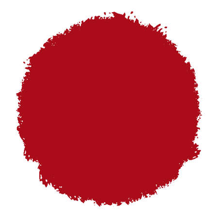 Big red grunge circle isolated on a white background. Artistic round distressed japaneese design element. EPS10 vector.