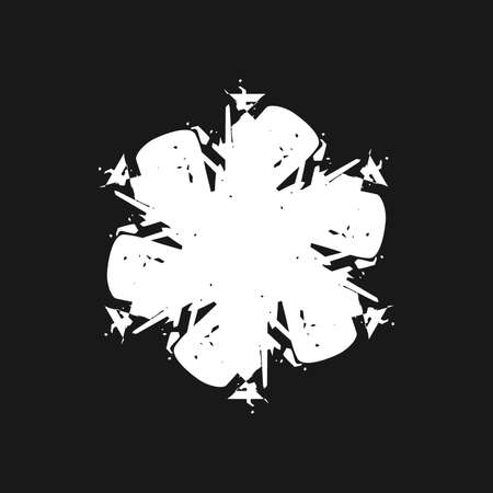Simple brush stroke snowflake lace for your design. Single grunge isolated christmas artistic template. EPS10 vector.