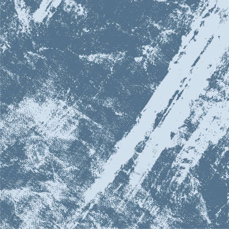 Brushed paint cover. Overlay aged grainy messy template. Grunge rough dirty blue square background. Distress urban used texture. Renovate wall grimy backdrop. Empty aging design element. EPS10 vector Illustration