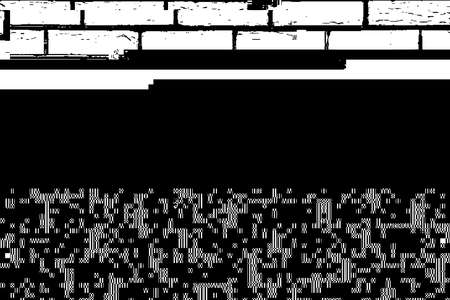 Grunge glitched black and white background. Glitch overlay distress texture. Cyber hacker attack theme creative design template. EPS10 vector.