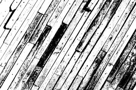 Wooden dry planks distressed overlay texture with knot. Grunge old wood black cover template. Weathered rural grainy timber backdrop. Aged dried board creative element. EPS10 vector Ilustração