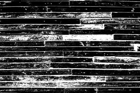 Wooden dry planks distressed overlay texture with knot. Grunge old wood black cover template. Weathered rural grainy timber backdrop. Aged dried board creative element. EPS10 vector 일러스트