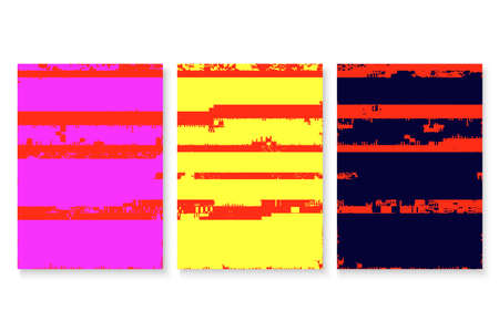 Glitched screen poster cover set. Abstract digital background collection. Isolated artistic templates. EPS10 vector.