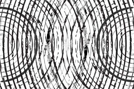 Texture de superposition de grunge radiale pour votre conception. Des cercles concentriques se croisant se superposent à l'arrière-plan. vecteur EPS10