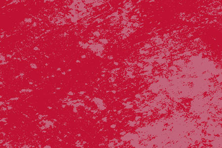 Brushed red paint cover. Grunge rough dirty background. Overlay aged grainy messy template. Distress urban used texture. Renovate wall frame grimy backdrop. Empty aging design element. EPS10 vector
