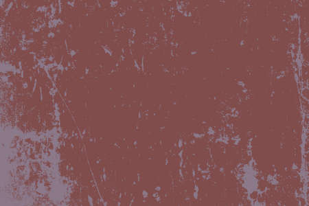 Brushed red paint cover. Distress urban used texture. Grunge rough dirty background. Overlay aged grainy messy template. Renovate wall frame grimy backdrop. Empty aging design element. EPS10 vector Illustration