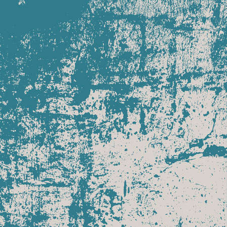 Brushed paint cover. Overlay aged grainy messy template. Grunge rough dirty blue square background. Distress urban used texture. Renovate wall grimy backdrop. Empty aging design element. EPS10 vector