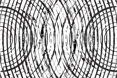 Radial Grunge Overlay Texture for your design. Concentric circles crossing themself overlay background. EPS10 vector Vektorové ilustrace