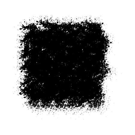 Grunge overlay mockup. Distressed bold black isolated banner texture. Paint brush background. Empty design element. Original logo blank detail. High detailed quality Icon basis. EPS10 vector Çizim