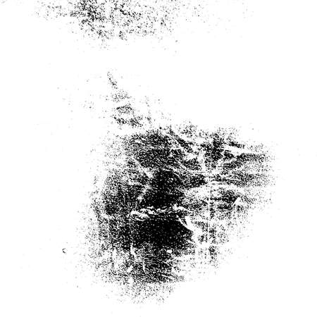 Distressed grainy overlay texture. Grunge dark corner messy background. Dirty paper empty cover template. Ink stroke brushed square shape backdrop. Insane aging border design element. EPS10 vector
