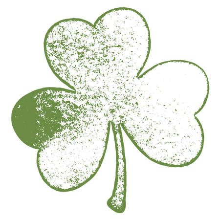 Artistic distressed patrick day element for your design. Grunge clover shamrock leaf isolated on a white background. EPS10 vector